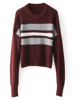 Pullover Stripes Panel - Pull Ras Du Cou - Rouge Vineux