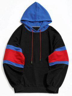 Kangaroo Pocket Color Block Hoodie Men Clothes - Black L