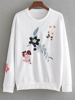 Drop Shoulder Loose Floral Embroidered Sweatshirt - White M