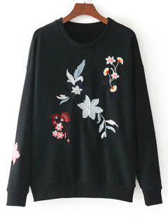 Drop Shoulder Loose Floral Embroidered Sweatshirt - Black S
