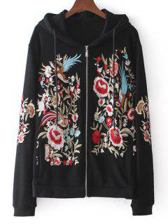 Drawstring Zip Up Floral Embroidered Hoodie - Black L
