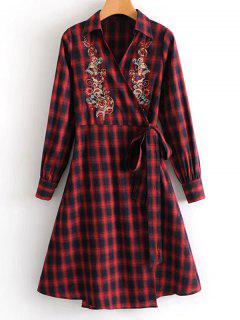 Plaid Floral Embroidered Wrap Dress - Checked M