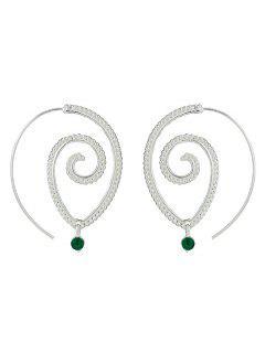 Rhinestone Hoop Earrings - Silver