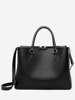 Multi Function Faux Leather Zip Handbag - Black