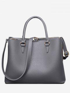 Multi Function Faux Leather Zip Handbag - Gray