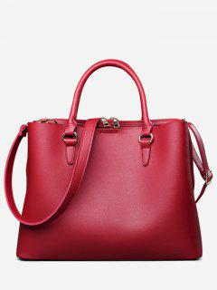 Multi Function Faux Leather Zip Handbag - Red