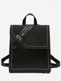 Faux Leather Stitching Front Zip Embellished Backpack - Black