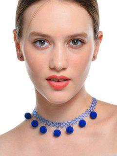 Charm Fuzzy Ball Tattoo Choker Necklace - Blue