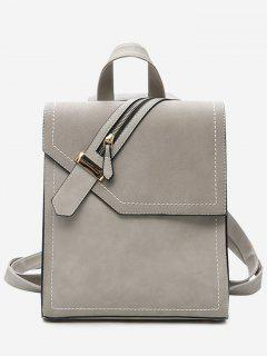 Faux Leather Stitching Front Zip Embellished Backpack - Gray