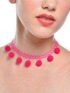 Charm Fuzzy Ball Tattoo Choker Necklace - Tutti Frutti