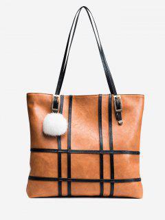 Color Block Plaid Striped Shoulder Bag - Brown