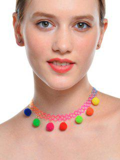 Charm Fuzzy Ball Tattoo Choker Necklace
