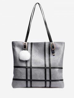 Color Block Plaid Striped Shoulder Bag - Gray