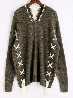 Oversized Contrasting Lace Up Sweater - Army Green