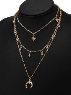 Rhinestone Tribal Moon Sun Layered Necklace - Golden