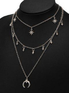 Rhinestone Tribal Moon Sun Layered Necklace - Silver