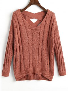 Criss Cross Back Cable Knit Sweater - Russet-red
