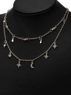 Star Moon Charm Chain Necklace Set - Silver