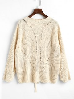 Sheer Lace Up Back Sweater - Off-white