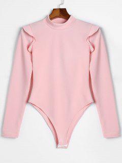 Long Sleeve Skinny Ruffles Bodysuit - Pink L