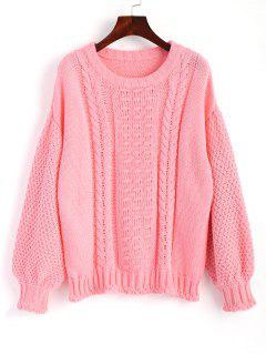 Cable Knit Lantern Sleeve Sweater - Papaya M