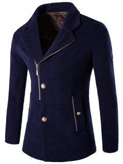 Button And Zip Up Wool Blend Coat - Purplish Blue M