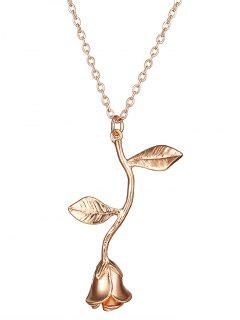 Rose Flower Pendant Necklace - Rose Gold