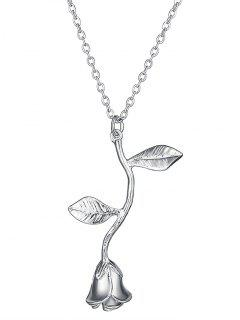 Rose Flower Pendant Necklace - Silver