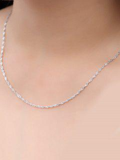 Wave Chain Collarbone Necklace - Silver