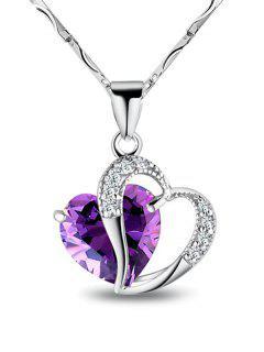 Faux Amethyst Wave Chain Heart Necklace - Purple