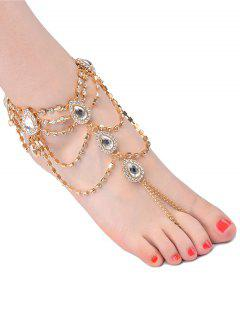 1PC Rhinestone Fringed Teardrop Slave Anklet - Golden