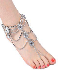 1PC Rhinestone Fringed Teardrop Slave Anklet - Silver