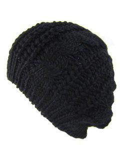 Outdoor Crochet Knitted Chunky Beanie - Black