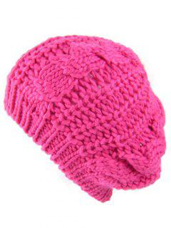 Outdoor Crochet Knitted Chunky Beanie - Rose Madder
