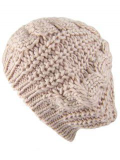 Outdoor Crochet Knitted Chunky Beanie - Beige