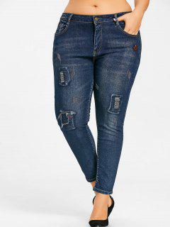 Plus Size Distressed Jeans With Patches - Denim Blue 5xl