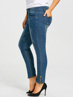 Plus Size Zip Leg Detail Jeans - Denim Blue 5xl