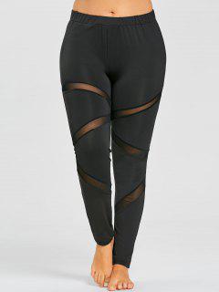 Plus Size Sheer Mesh Panel Workout Leggings - Black 3xl
