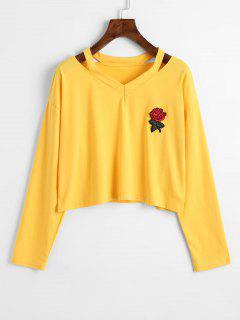 Kalte Schulter Rose Besticktes Geflicktes Sweatshirt - Gelb L