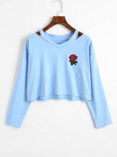 Cold Shoulder Rose Embroidered Patches Sweatshirt - Light Blue L