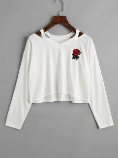 Cold Shoulder Rose Embroidered Patches Sweatshirt - White M