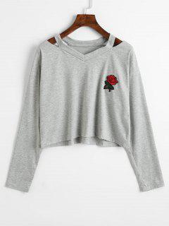 Cold Shoulder Rose Embroidered Patches Sweatshirt - Gray Xl