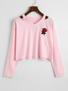 Cold Shoulder Rose Embroidered Patches Sweatshirt - Pink L
