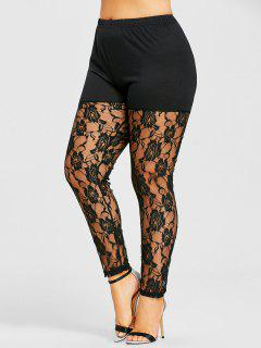 Plus Size Sheer Lace Panel Leggings - Black 5xl