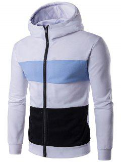 Color Block Stripe Full Zip Hoodie - White M