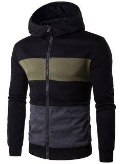 Color Block Stripe Full Zip Hoodie - Black M