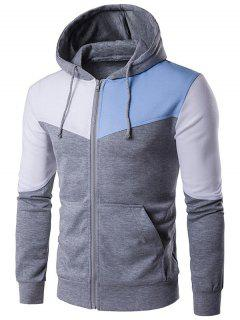 Kangaroo Pocket Zip Up Color Block Hoodie - Gray M