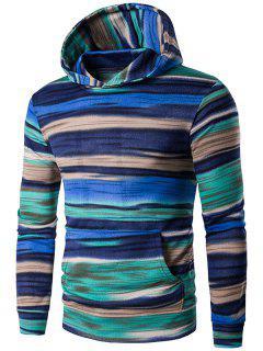 Irregular Stripe Kangaroo Pocket Pullover Hoodie - Blue L