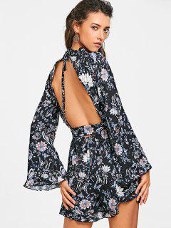 Flare Sleeve Belted Floral Backless Romper - Floral S
