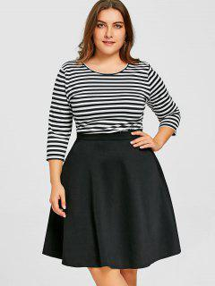 Plus Size Striped Top With Skirt - Black Xl